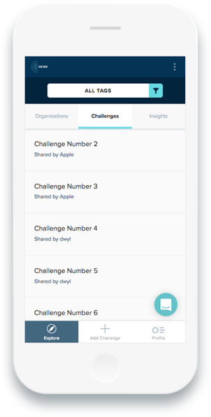 A phone displaying the Ellen MacArthur Foundation's online membership app on a challenges page