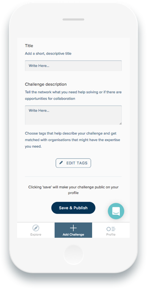 A phone displaying the Ellen MacArthur Foundation's online membership app on a page to create a new challenge