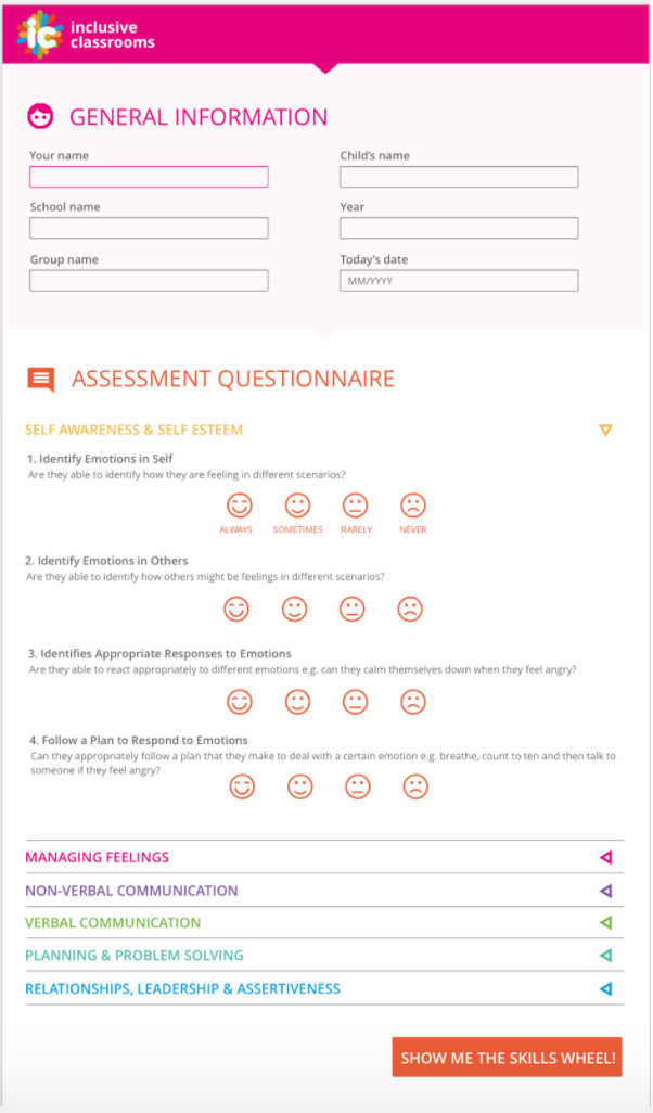 The Inclusive Classrooms site on a questionnaire page